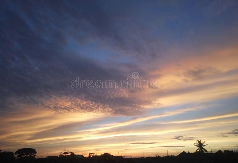 Beauty sunrise morning sky blue pink stock photography