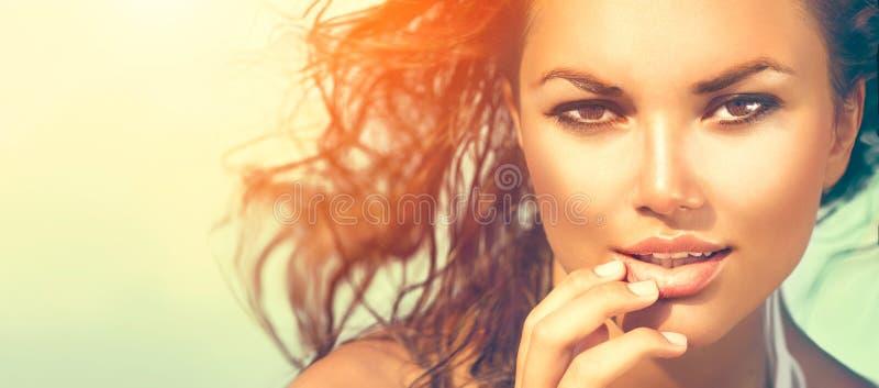 Beauty sunshine girl portrait stock photography