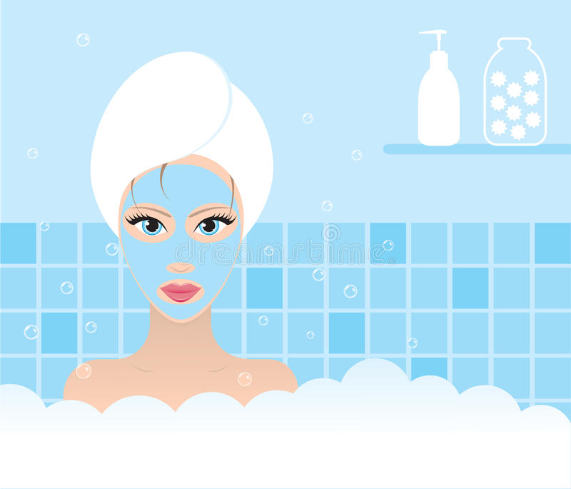 Download Beauty taking bath stock vector. Image of beautiful, pink - 10248204