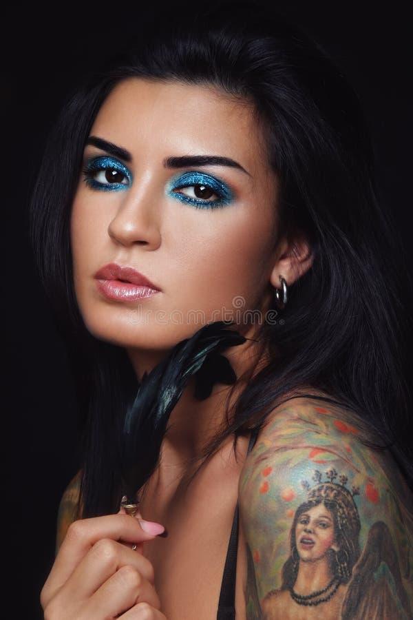 Beauty with tattoo stock photo