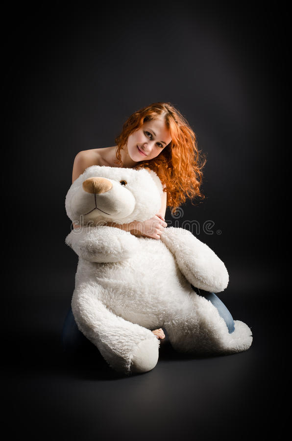 Download Beauty with a teddy bear stock image. Image of long, background - 23179647