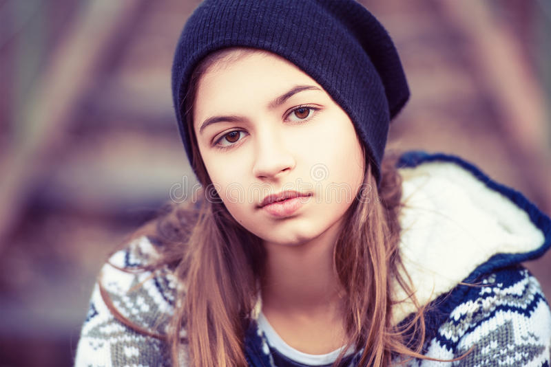 Beauty teenage girl in hat outdoors royalty free stock images