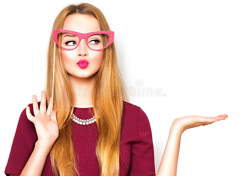 Beauty teenage girl presenting point royalty free stock photography