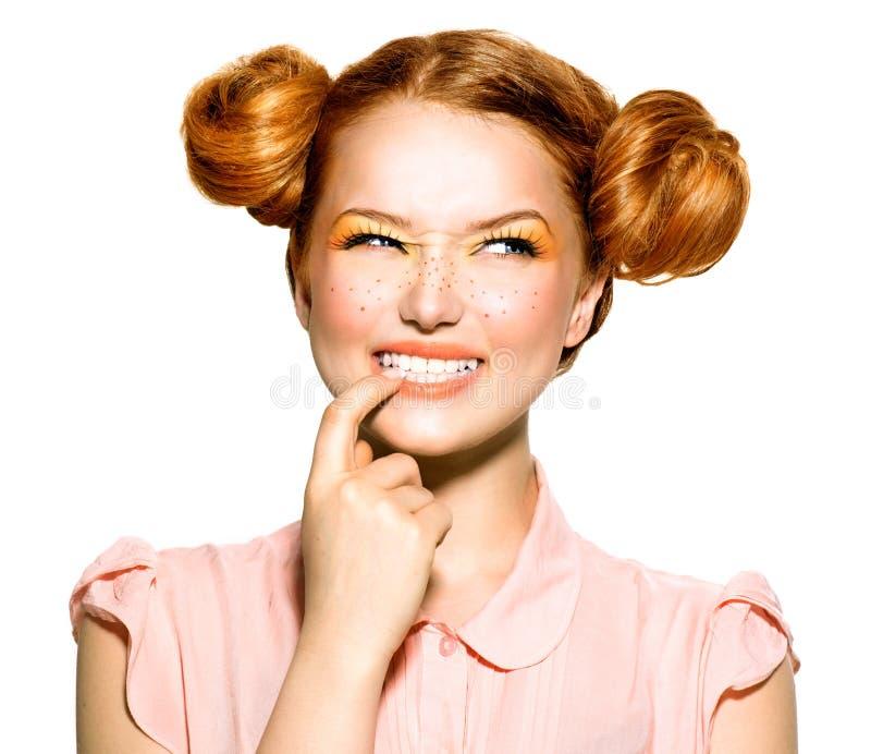 Beauty teenage model girl portrait stock image
