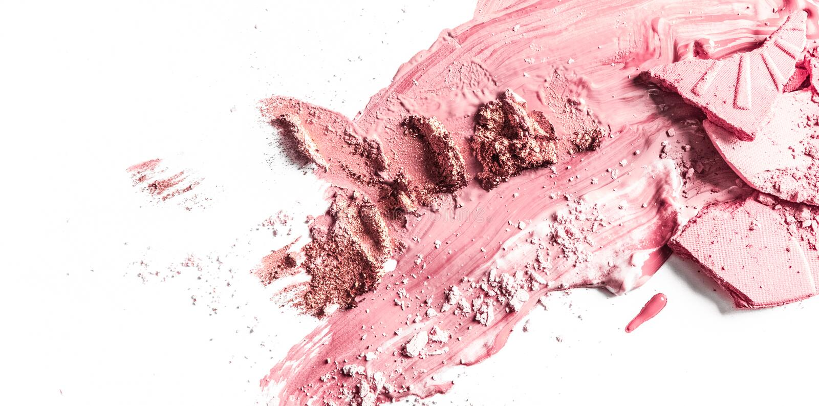 Crushed eyeshadow, powder and liquid foundation close-up isolated on white background. Beauty texture, cosmetic product and art of make-up concept - Crushed stock photography