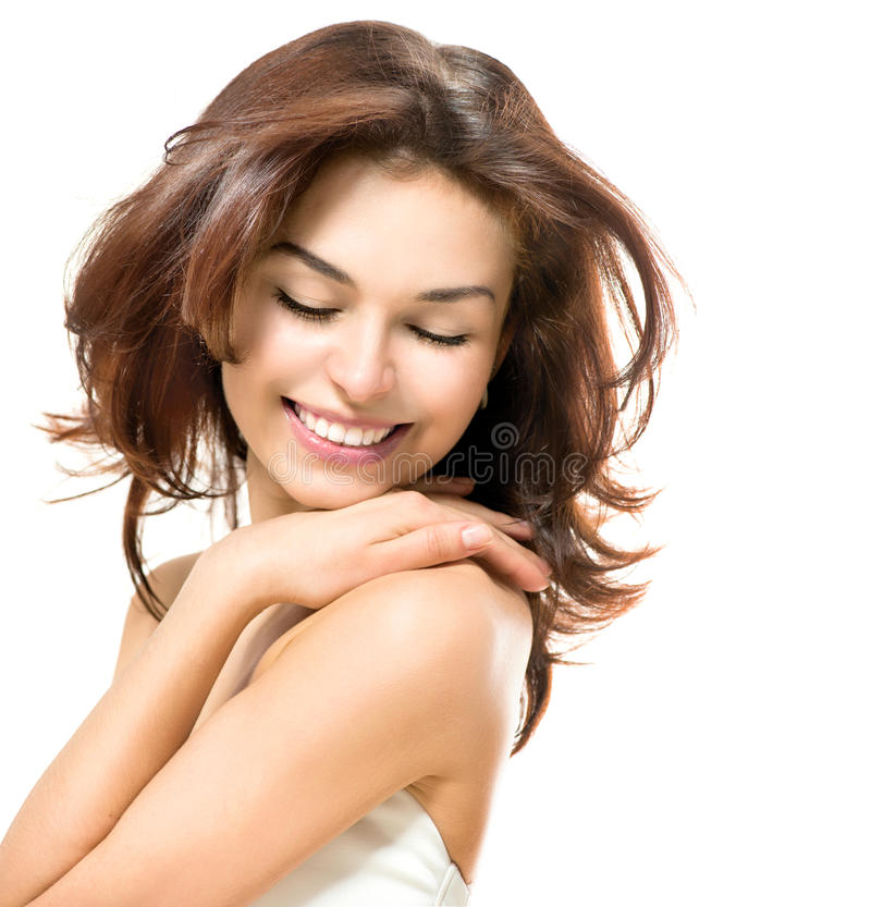 Beauty touching Her Skin royalty free stock image