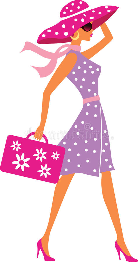 Beauty travel girl with baggage stock photography