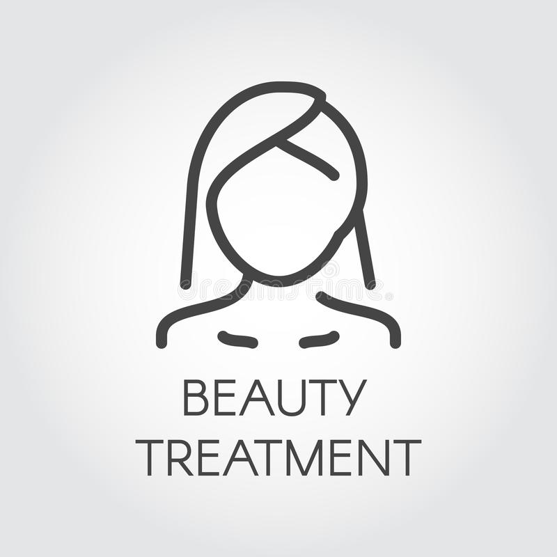 Beauty treatment icon. Abstract portrait of woman in linear style. Cosmetology, skincare, healthcare concept royalty free illustration
