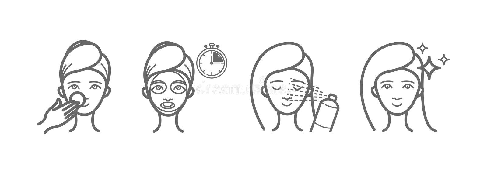 Beauty treatment icons set, face mask, spray. For your design royalty free illustration