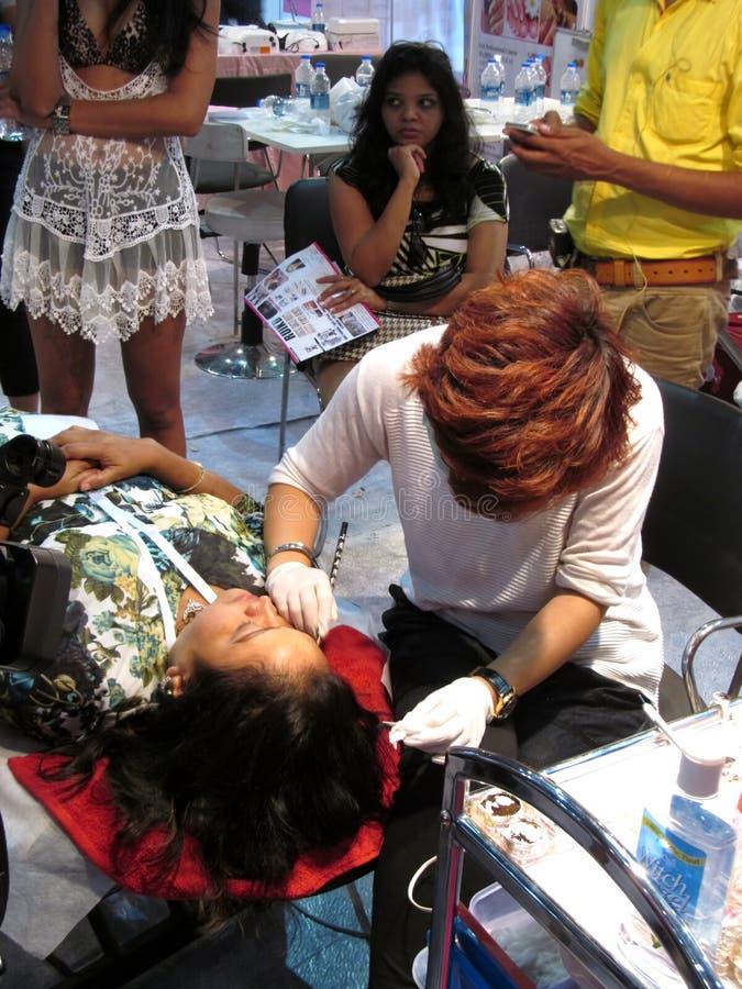 Beauty treatment. At Professional beauty expo, Mumbai. Date-6th october 2015 royalty free stock image