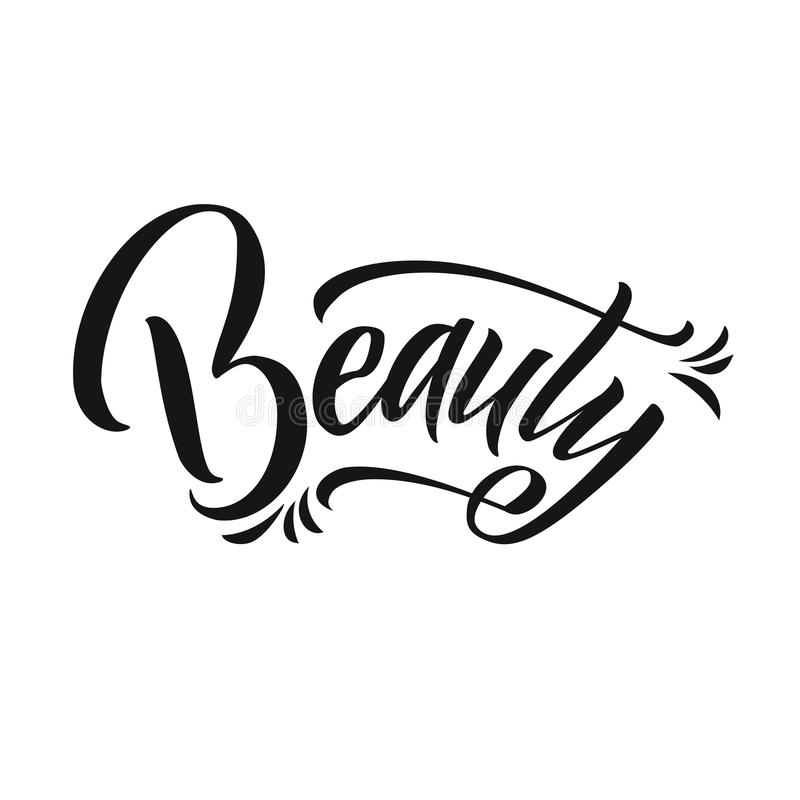 Beauty Typography Square Poster. Vector lettering. Calligraphy phrase for gift cards, scrapbooking, beauty blogs stock illustration