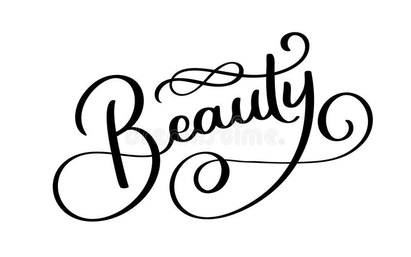 Beauty Typography Square Poster. Vector lettering. Calligraphy phrase for gift cards, scrapbooking, beauty blogs royalty free illustration