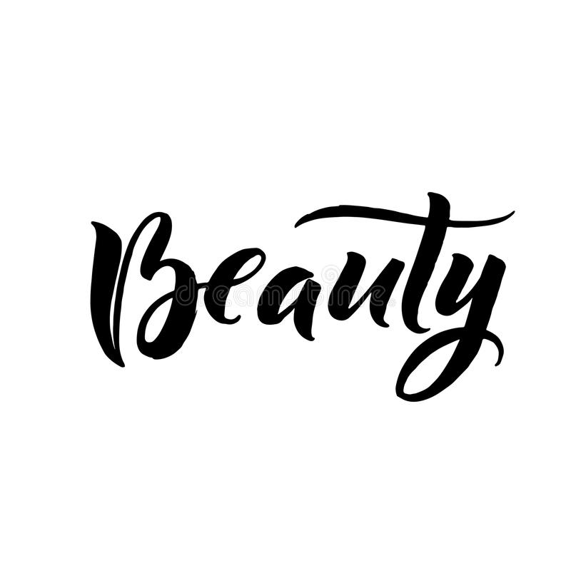 Beauty Typography Square Poster. Vector lettering. Calligraphy phrase for gift cards stock illustration