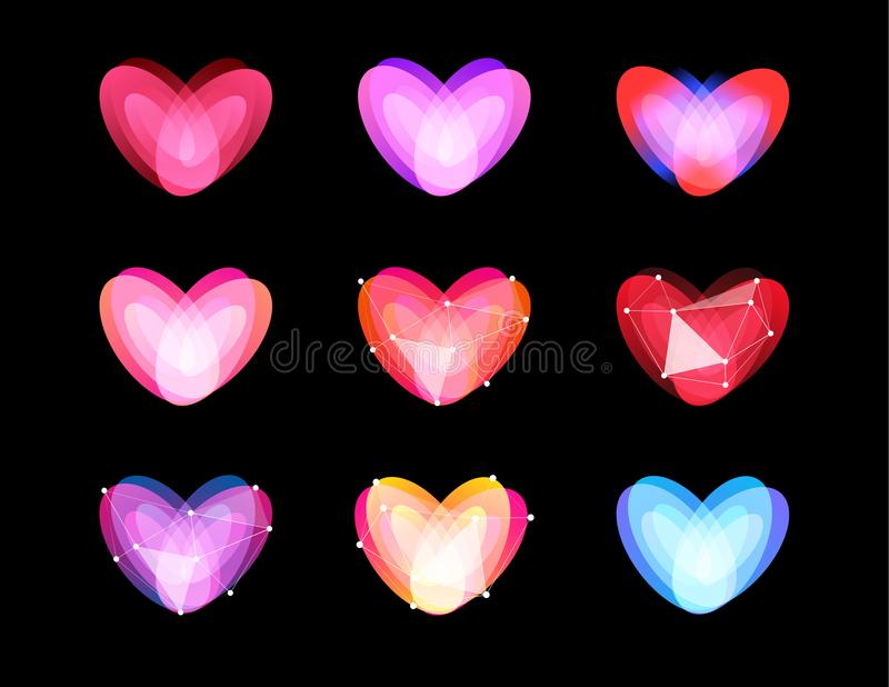 Beauty unusual hearts collection. Abstract polygonal design. Valentines Day symbols, vector ilustration. Cyber love logo royalty free illustration