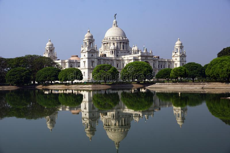 The beauty of Victoria Memorial and its reflection, Kolkata. The Victoria Memorial one of most famous monuments of India, situated at heart of the City of Joy royalty free stock images