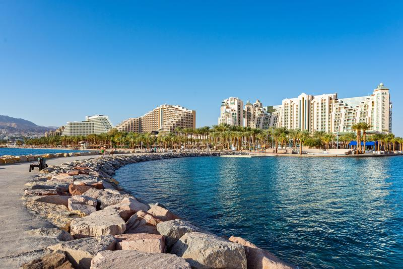 Beauty view on Eilat from pier at Red Sea royalty free stock photography