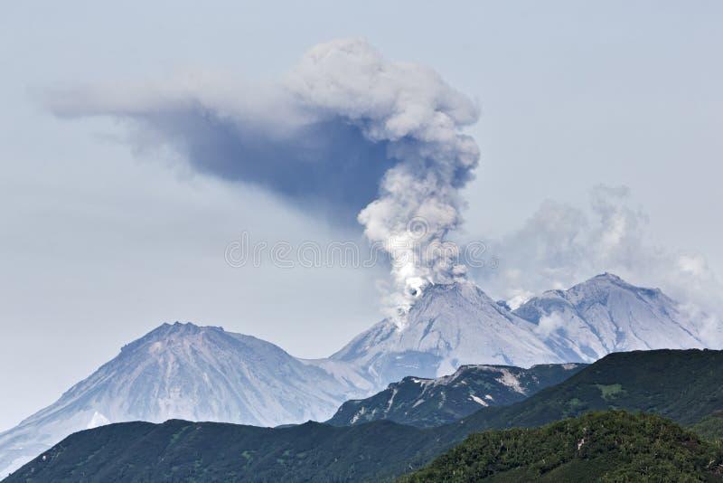 Beauty volcanic landscape: eruption active volcano. Beautiful volcanic (mountain) landscape of Kamchatka: eruption active Zhupanovsky Volcano on Kamchatka stock photo