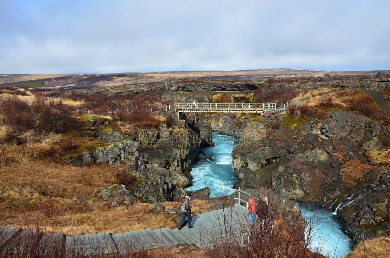 Beauty waterfall Hraunfossar on the Iceland