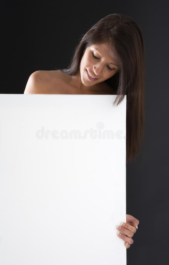 Beauty with white board royalty free stock photos