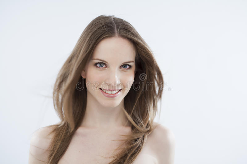 Beauty With Windy Hair On White Stock Photo