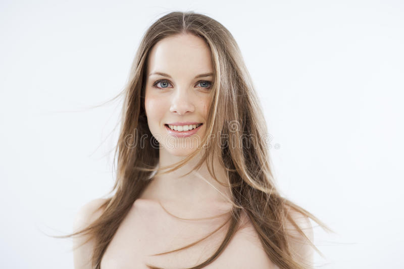 Download Beauty With Windy Hair On White Royalty Free Stock Image - Image: 26078326