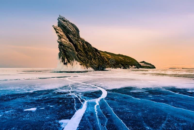 Beauty of Winter season natural landscape. Baikal Siberia water lake stock images