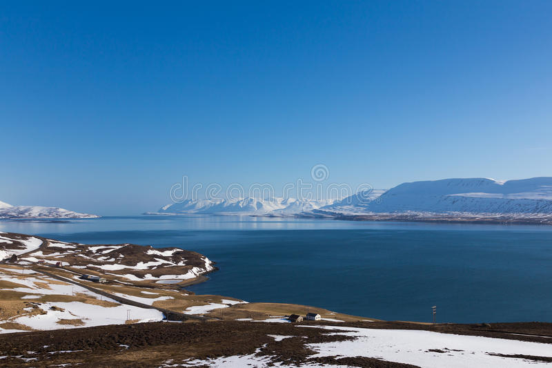 Beauty winter season natural landscape Iceland. With clear blue sky background stock photography