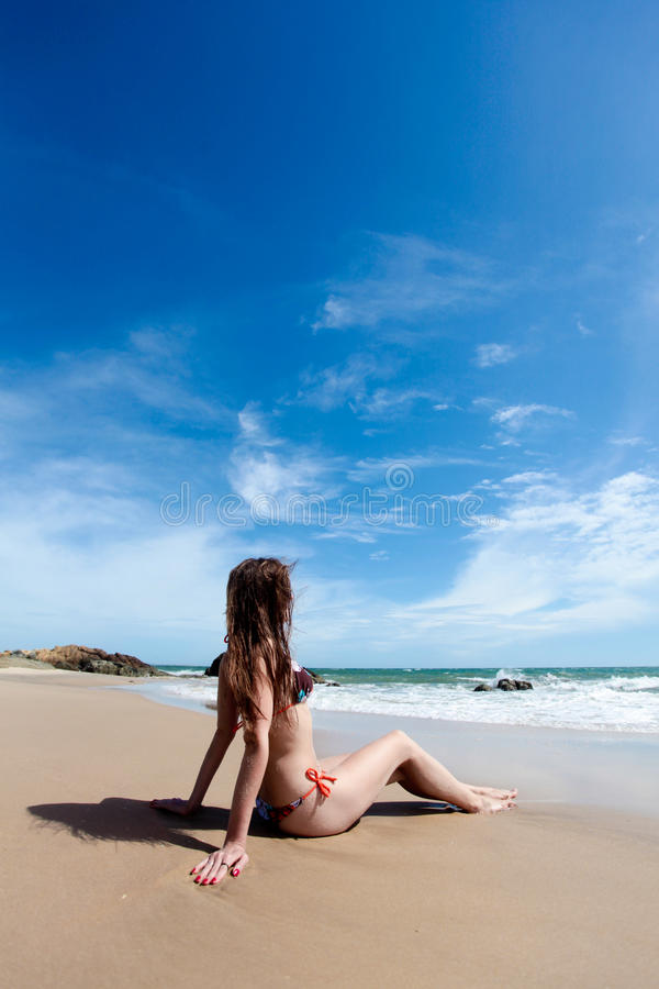 Beauty Woman And Amazing Sand Beach Royalty Free Stock Image