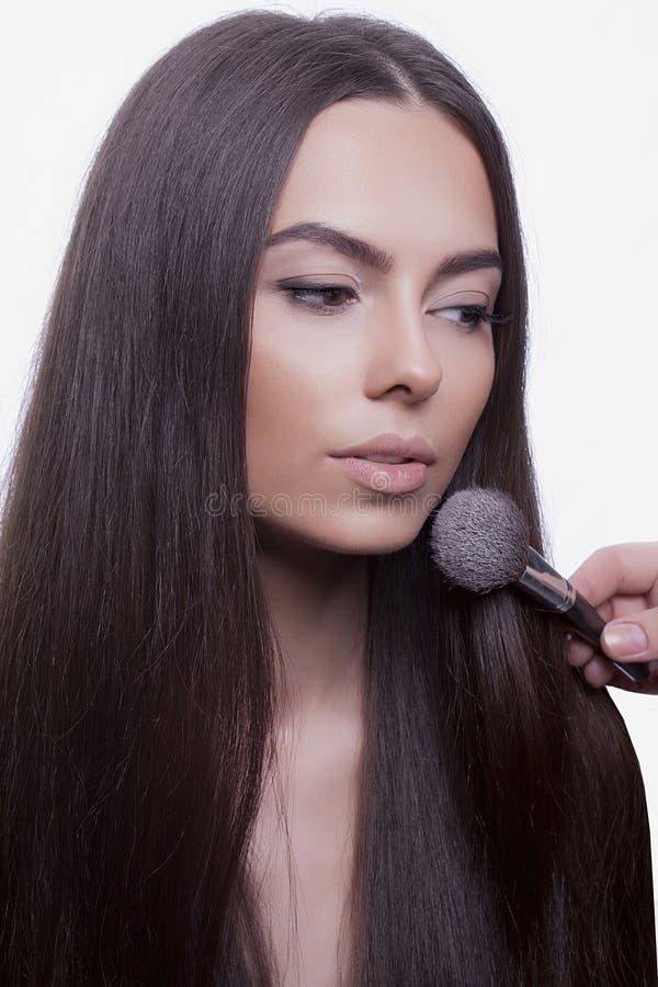 Beauty woman Applying Make-up stock image