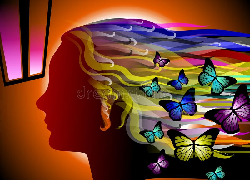 The beauty of woman around flying butterflies royalty free stock photos