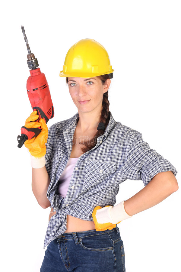Download Beauty woman with auger stock photo. Image of carpenter - 6109794
