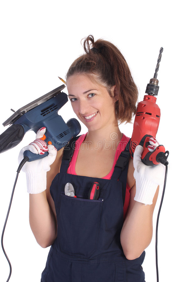 Download Beauty Woman With Auger And Sander Stock Photo - Image of people, equipment: 6389214