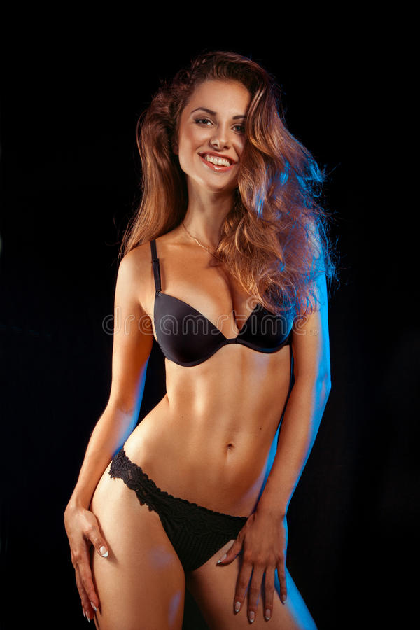 Download Beauty Woman In Black Lingerie Smiling At Camera Stock Photo - Image: 32831910
