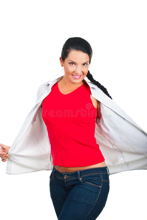 Beauty woman in blank red t-shirt and jeans stock image