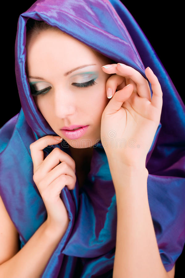 Download Beauty Woman Blue Cloth Face Makeup Studio Shot Stock Image - Image: 22434563