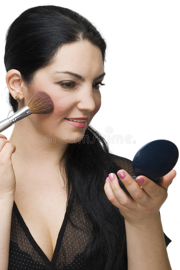 Beauty woman blushing in mirror stock image