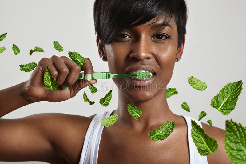 Beauty woman cleaning teeth surrounded leavs of mint stock image