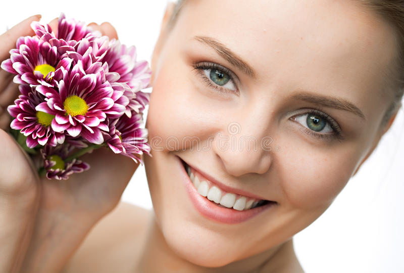 Download Beauty Woman Closeup Portrait With Flower Stock Photo - Image: 14416252