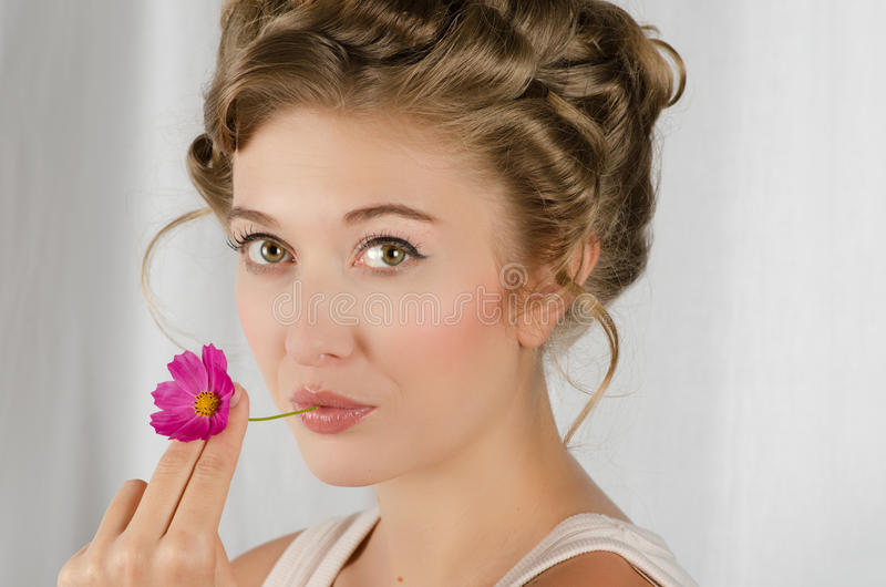 Beauty woman closeup portrait stock photo