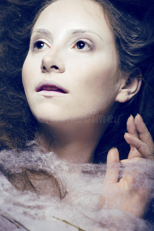 Download Beauty Woman With Creative Make Up Like Cocoon Stock Photo - Image: 30992642