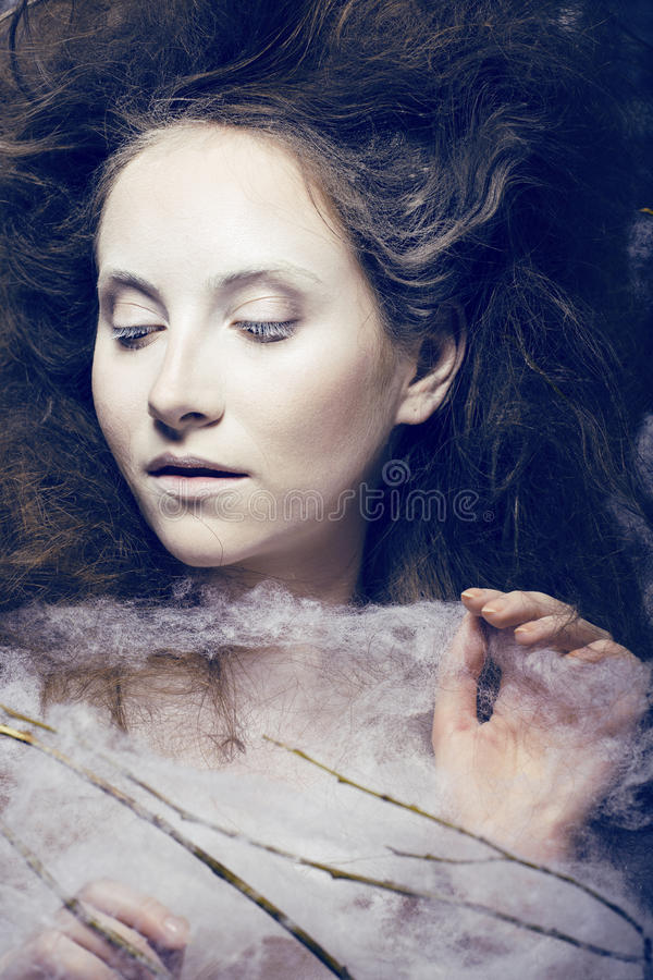 Beauty Woman With Creative Make Up Like Cocoon Stock Photos