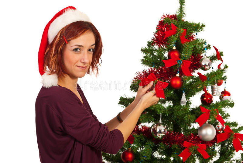 Beauty Woman Decorate Christmas Tree Stock Photography