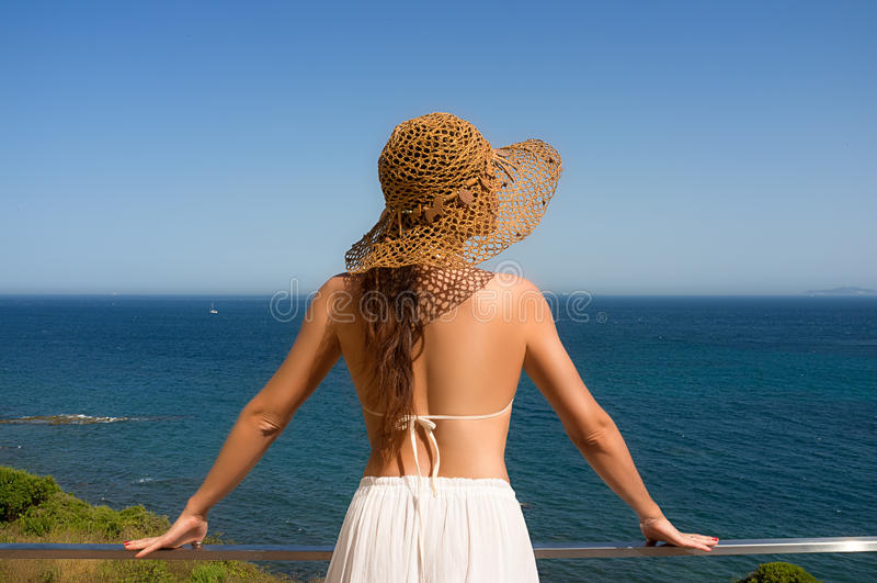 Download Beauty Woman Enjoying View Of Mediterranean Sea. Spain Stock Image - Image: 32864009