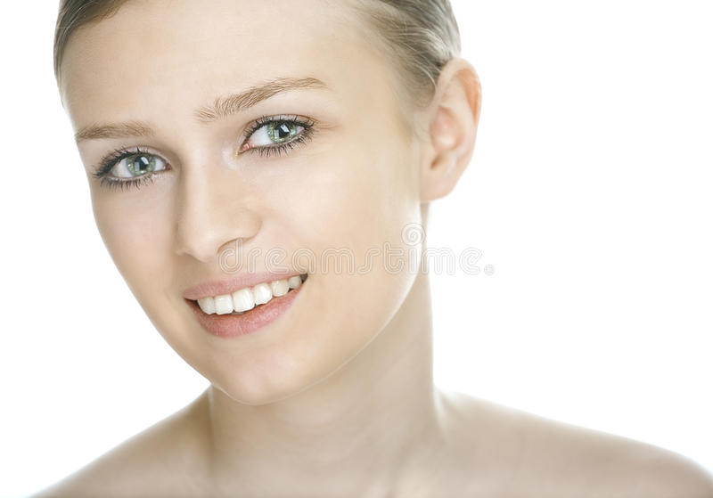 Beauty woman face. On white background royalty free stock photo