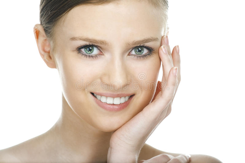 Beauty woman face. On white background royalty free stock photography