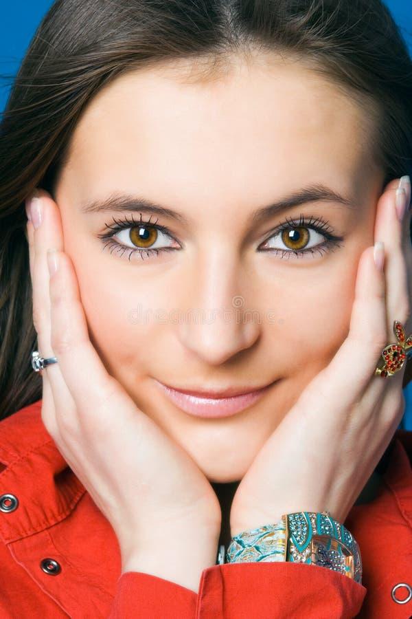 Beauty woman face stock photos
