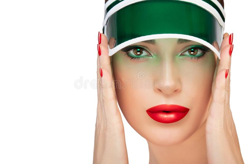 Beauty woman face. Fashion makeup and plump red lips royalty free stock images