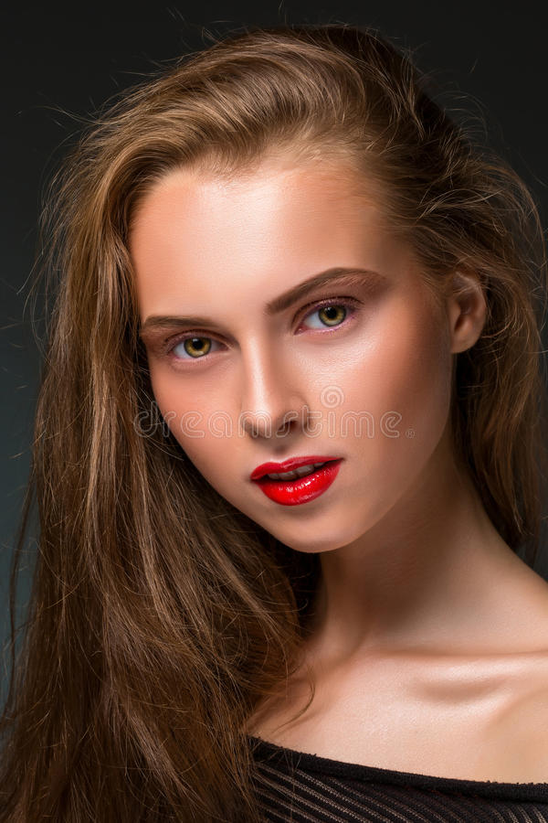 Beauty woman face closeup isolated on black background. Beautiful royalty free stock photography