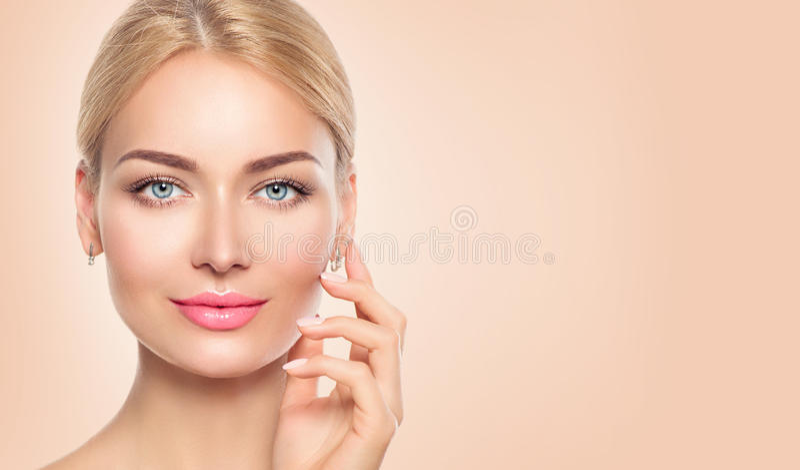Beauty woman face closeup portrait stock photos