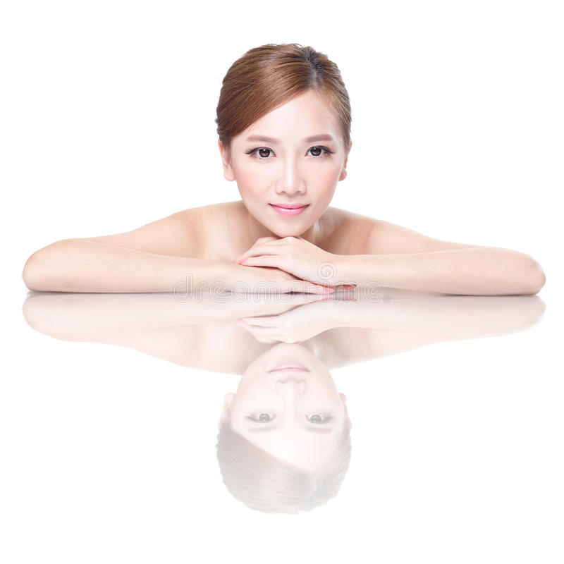 Beauty Woman Face With Mirror Reflection Royalty Free Stock Images